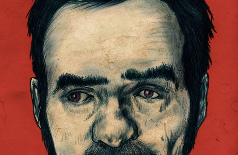 Buchcover mit Portrait eines Mannes drauf, roter Hintergrund